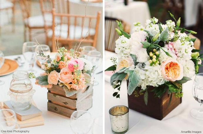 Centros de mesa con cajas wedding passion - Mesas con cajas de madera ...