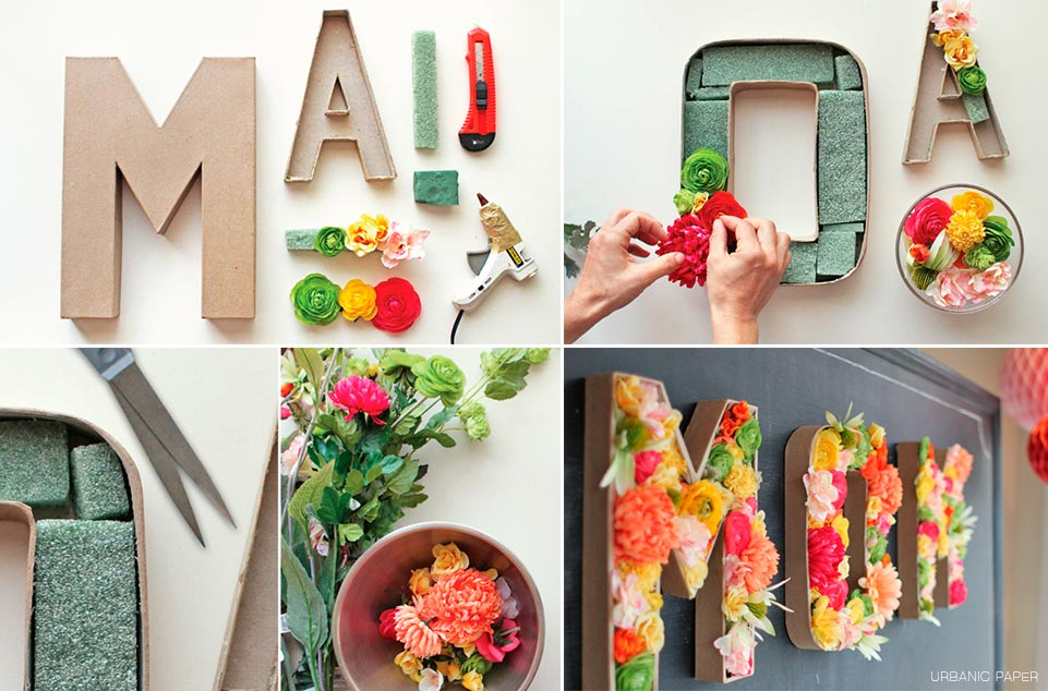 Decoraci n de bodas diy letras con flores para decorar for Como hacer adornos con plantas naturales