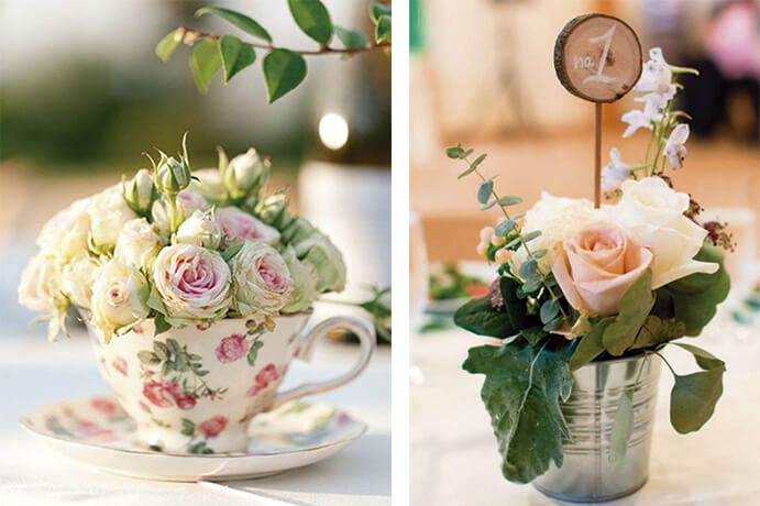 Decoraci n de mesas para bodas originales wedding passion for Centros de mesa vintage