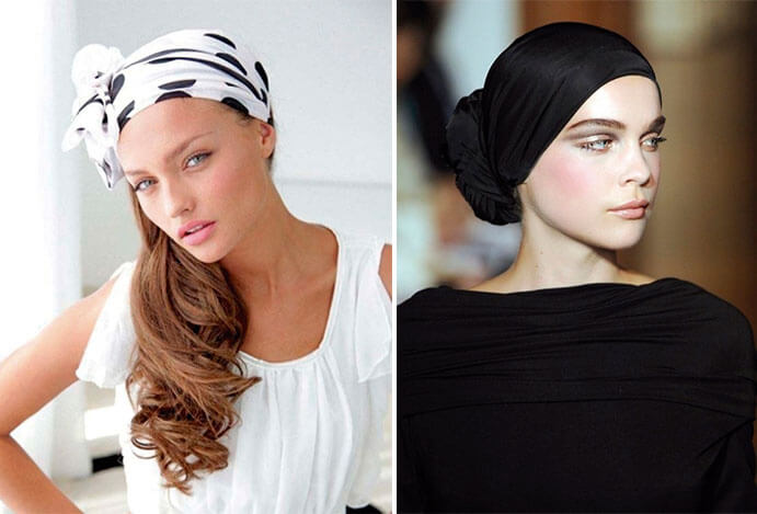 BODA-CON-TURBANTE-turbantes-blanco-con-lunares-y-negro-691-x-469