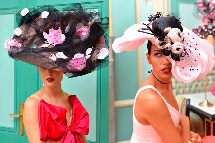 tocados-de-alta-costura-como-deslumbrar-con-el-complemento-mas-atrevido-via-zimbiol-nyfw-16-pamelas rosa y negra weddingpassion-es-691-x 460.jpg