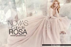 Vestido novia rosa, novias color de rosa
