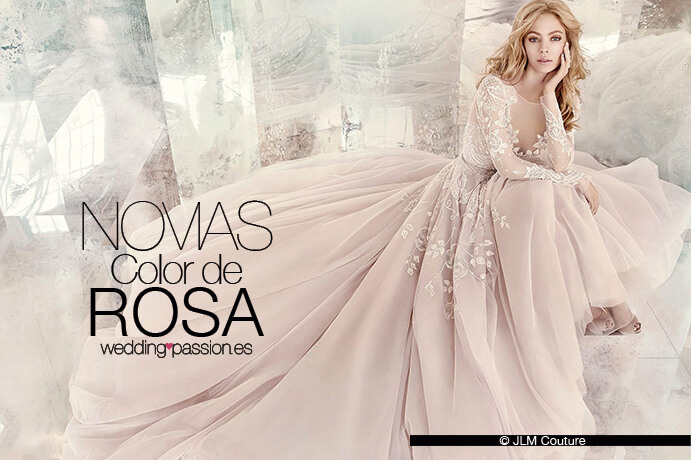 vestido novia rosa, novias color de rosa - wedding passion